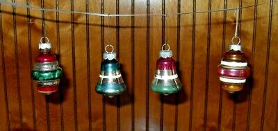 $ CDN13.20 • Buy Vintage Shiny Brite Glass Christmas Tree Ornaments Striped Bells Cyclones Qty 4