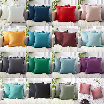 2x Soft Velvet Cushion Cover Pom Poms Home Decorative Sofa Throw Pillow Case 18  • 13.27£