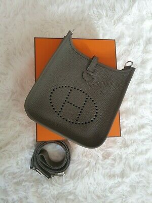 AU3995 • Buy 🐘 Hermes Mini Evelyne Tpm Gris Etain Clemence Leather With Phw 🦏