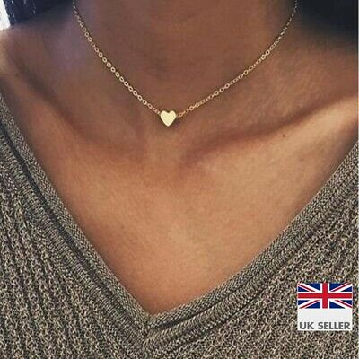 £2.99 • Buy Heart 14k Gold Plated Necklace Thin Chain Choker - Small Simple Jewellery - UK