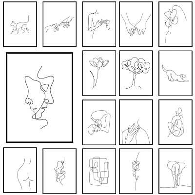 £3.49 • Buy Abstract One Line Drawing Framed Wall Art Shape Print Continuous Line Poster