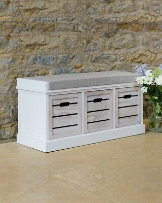 White Three Drawer Wooden Crate Bench Slatted Seating Hallway Bedroom Storage • 59.99£