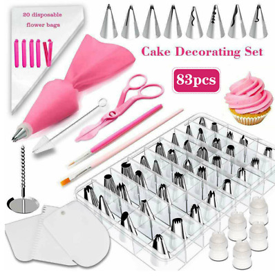 83Pcs Icing Piping Nozzles Cake Baking Tool Set Russian Flower Stainless Steel • 12.99£
