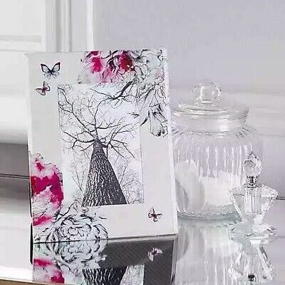£6.99 • Buy Pink Mirror Effect Photo Frame Picture Wedding Gift Place-card Flowery Butterfly