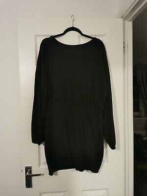 Boohoo Jumper Top Size 22 Bubble Hem Black Longline Oversized Balloon Sleeves  • 6.66£
