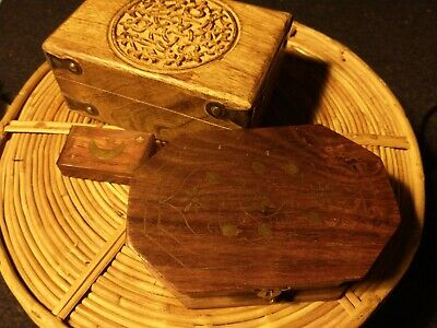 Lot Of Three Wooden Boxes With Lids, Small, Engraved • 3.20£