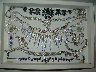 $ CDN159.99 • Buy 10 Fancy Vintage Colored Rhinestone Crystal Necklaces & Collars Lot Some Signed