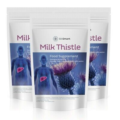 Milk Thistle 2000mg Extract - 80% Silymarin - Detox - Liver Support - 60 Tablets • 7.99£