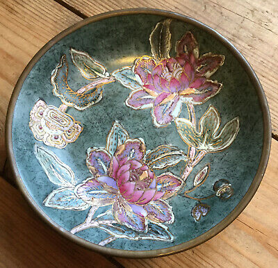 Vintage Chinese Toyo Brass & Ceramic Bowl Hand Painted  • 9.95£