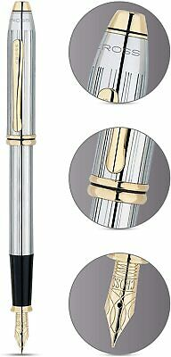CROSS Bailey Fountain Pen - Chrome Gold Medalist ***BRAND NEW WITH GIFT BOX*** • 39.99£