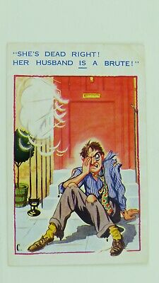1950s Vintage Inter-Art Caport Comic Postcard Cheating Wife Husband Lover Affair • 3£