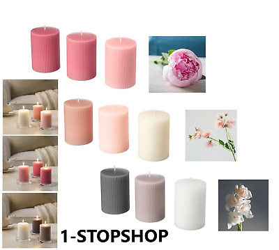IKEA SCENTED BLOCK CANDLES 3pack Large Long Burn Aromatic Flowers Smell VARIOUS • 11.99£