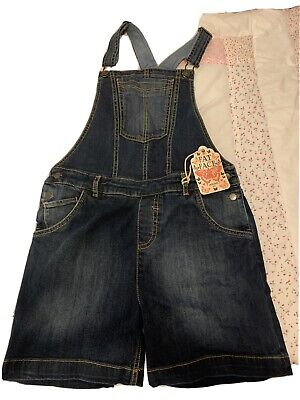 Girls FAT FACE Denim Blue Short Dungarees Age 12-13 Years • 8.75£