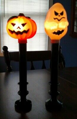$ CDN19.82 • Buy 2 Vintage Halloween Blow Mold Ghost & Pumpkin Battery Operated Lighted Candles
