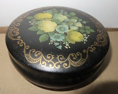 *Vintage*Marks And Spencer*1990 Round Empty Sweet Tin*Black/Floral • 3.99£