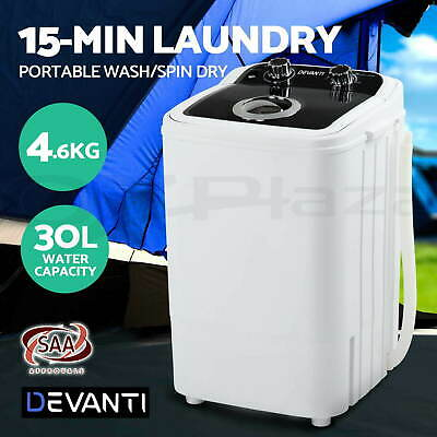 AU218.95 • Buy 2 In 1 Mini Portable 4.6KG Washing Machine Camping Spin Dry Wash Spin Dry Black