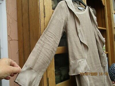 Linen Dress And Jacket Size 2 - Beige Colour Ideal For Office/wedding/ Holiday  • 8.99£