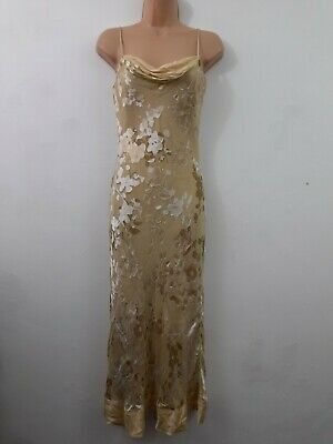Monsoon Beige Gold Mix Floral Prom Special Occasion Cowl Silk Maxi Dress Size 8 • 39.99£