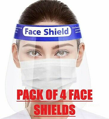 £3.99 • Buy 4 Pack Face Shield Full Face Visor Protection Mask PPE Shield Transparent Clear