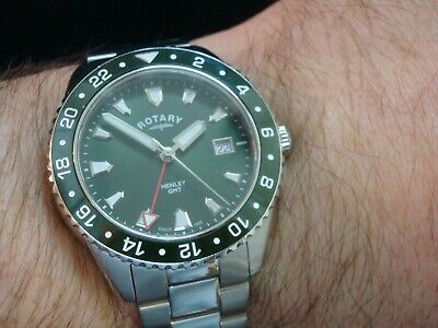 Rotary Henley GMT. Rare Green Dial & Bezel Model. Gents. Boxed. RRP £265 • 90£