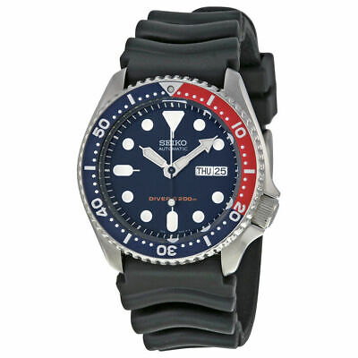 $ CDN406.41 • Buy Seiko SKX009 Automatic Blue Red Rubber Strap 200m Scuba Diver Watch SKX009K1