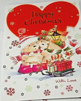 Happy Christmas Card. Heart Theme. Northern Lights Cards  • 1.55£
