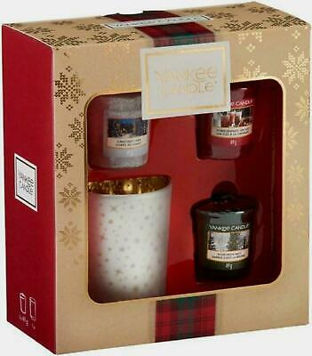 Yankee Candle Gift Set With 3 Scented Votive Candles And 1 Votive Holder, Alpine • 13.95£