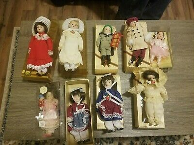 $ CDN13.20 • Buy Vintage Lot Of Porcelain Dolls Ornaments 9 Total With Boxes