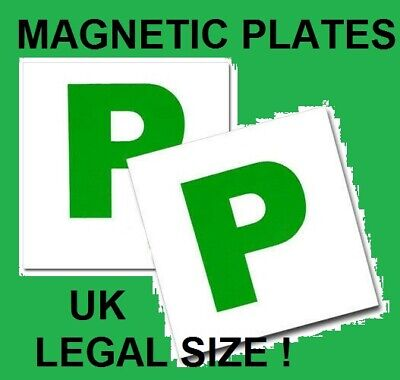 2 X MAGNETIC PASSED PASS NEW DRIVER GREEN P PLATE PLATES FOR CAR VEHICLE • 2.49£