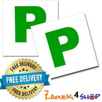 2 X MAGNETIC NEW DRIVER GREEN P PASSED PASS PLATE PLATES FOR CAR VEHICLE • 2.69£
