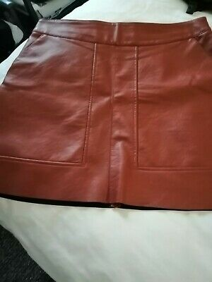 Warehouse Brown Womens Faux Leather Skirt Size 16  💕 • 10£