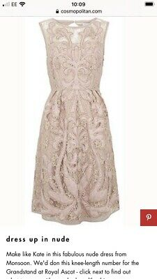 Brand New With Tags Monsoon Nude Lace Dress Size 12. Next, Lipsy, Gold Style. • 9.99£