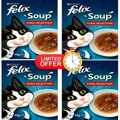 Felix Soup Farm Selection 24 X 48g (Pack Of 4) UK STOCK + SAME DAY DISPATCH • 14.69£