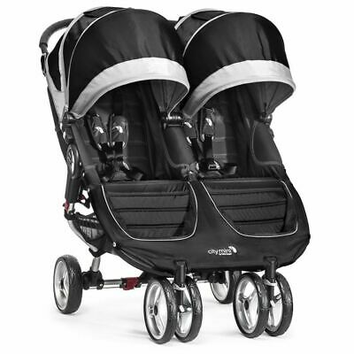 Ex Display Baby Jogger City Mini Double/Twin Stroller - Black, Pushchair Immacul • 329£