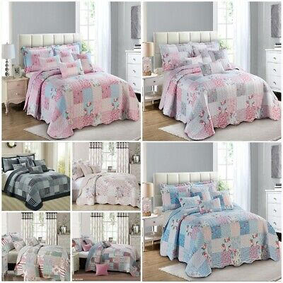 £29.85 • Buy 3 Piece Patchwork Bedspread Quilted Throw Double & King Size Printed Bedding Set