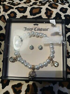 Juicy Couture Gift Set Pearl Bracelet With Diamond Charms Diamond Earings New  • 15£