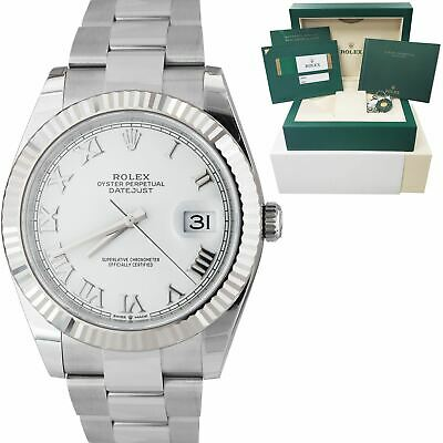 $ CDN14526.72 • Buy BRAND NEW Rolex DateJust 41 White Roman Stainless Oyster Fluted Watch 126334