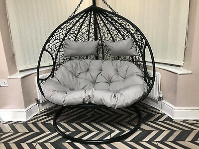 Double Egg Swing Chair With Base, Stand & Grey Cushions • 340£