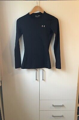 Womens Black Underarmour Fitted Long Sleeve Base Layer Size XS • 2.20£