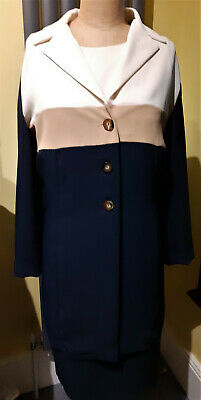 Ladies Navy Blue/ Nude/ White Two Piece Dress/ Coat Set By Essence. Size 18 • 18£