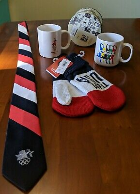 OLYMPIC Lot- Tie 1981 LA, 2 MUGS 1996 Atlanta, MITTENS 2018, Tin 2012, London.  • 13.93£