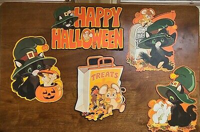 $ CDN51.54 • Buy Vintage Hallmark Halloween Diecut Decorations Black Cat Mouse Lot Of 5
