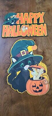 $ CDN33.02 • Buy Vintage Hallmark Halloween Diecut Decorations Black Cat Mouse Lot Of 2