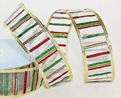 5 Meters Christmas Glitter Wire Edged Ribbon Gift Wrapping Christmas Decoration • 4.59£