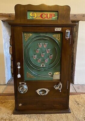 9 Cup Wall Reproduction Vintage Arcade Game 10P Coin Machine • 230£