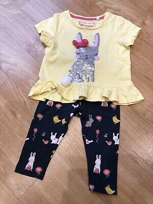 Baby Girls 12-18 Months Bunny Outfit T Shirt And Leggings Blue Zoo Debenhams • 2£