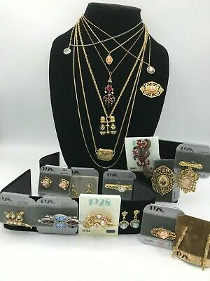 $ CDN41.43 • Buy All SIGNED 1928 BRAND VTG Lot Necklaces Pins Earrings*Faux Pearls Crystals Cameo