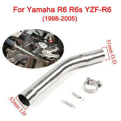 $51.61 • Buy For Yamaha R6 R6s Moto Exhaust Mid Link Pipe Slip On 51mm Muffler Tail Pipe