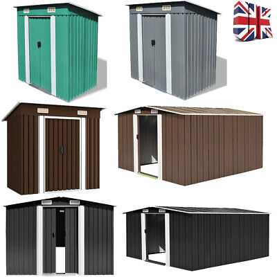 Metal Garden Shed Steel Roof Outdoor Storage House Large Tool Store Container UK • 618.16£
