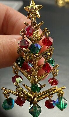 "$ CDN36.96 • Buy Vintage Signed Christmas Tree Brooch Pin 2.8"" Green & Red AB Crystal Beads Lot1"